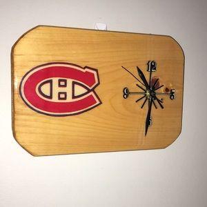 Montreal canadiens wooden clock horloge en bois